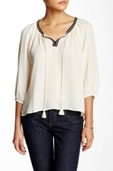Want And Need 3 4 Length Sleeve Blouse White
