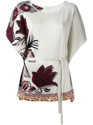Etro Intarsia Knit Belted Top Nude And Neutrals