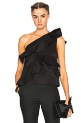Msgm One Shoulder Ruffle Top In Black