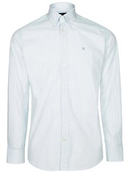 Hackett London Long Sleeve Check Shirt Green White