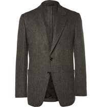 Tom Ford Grey Slim Fit Herringbone Wool And Cashmere Blend Blazer Gray