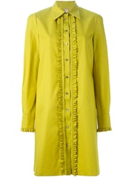 Antonio Marras Frill Placket Shirt Dress Yellow And Orange