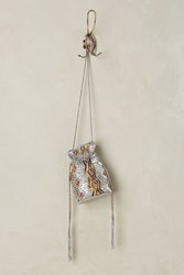 Anthropologie Beaded Modesto Bucket Pouch Silver