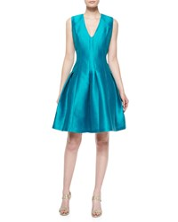 Carmen Marc Valvo Sleeveless Pleated Party Dress Size 12 Green