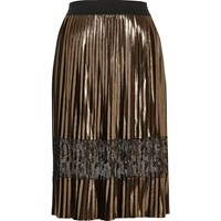 River Island Womens Gold Metallic Pleated Lace Midi Skirt