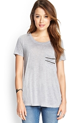 Forever 21 Zipper Pocket Heathered Tee Heather Grey