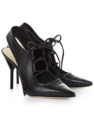 3.1 Phillip Lim Black Leather Lace Up Martini Heels