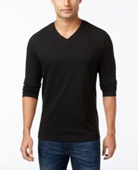 Alfani Men's Diamond V Neck Long Sleeve T Shirt Only At Macy's Deep Black