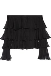 Balmain Off The Shoulder Ruffled Silk Chiffon Blouse Black