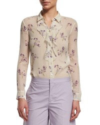 Red Valentino Long Sleeve Violet Print Blouse Ivory Women's Size 40 2