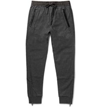 Burberry Sli Fit Tapered Leather Tried Wool Blend Sweatpants Dark Gray