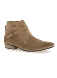 Topman Brown Tan Faux Suede Buckle Boots