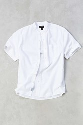 Cpo Seersucker Mandarin Collar Short Sleeve Button Down Shirt White