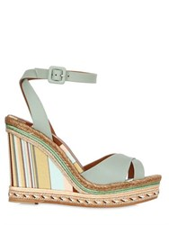 Valentino 115Mm Navajo Leather Espadrille Wedges
