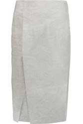 Donna Karan Linen Blend Crepe Midi Skirt Gray