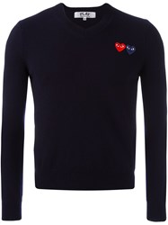 Comme Des Garcons Play V Neck Fine Knit Jumper Blue