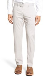Men's Brax Flat Front Stretch Cotton Trousers Silver