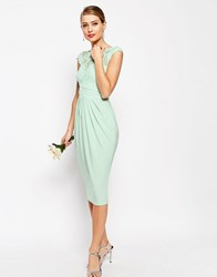 Asos Wedding Lace Top Pleated Midi Dress Mint Green