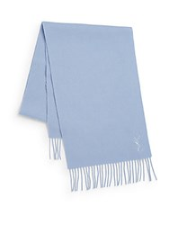 Yves Saint Laurent Wool And Cashmere Scarf Sky