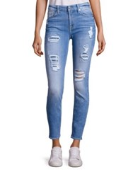 7 For All Mankind Peek A Boo Sequin Distressed Skinny Ankle Jeans Light Blue