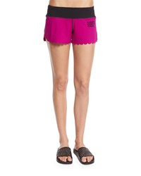 Monreal London Scallop Hem Pull On Shorts Berry