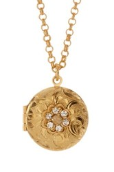Liz Palacios Crystal Round Locket Necklace No Color