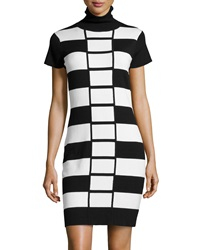 Neiman Marcus Colorblock Turtleneck Sweater Dress Black White