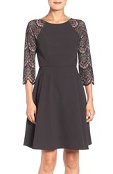 London Times Women's Lace Panel Fit And Flare Dress