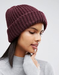 Pieces Fisherman Knit Beanie In Fig Fig Red