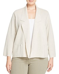 Eileen Fisher Plus Notch Lapel Knit Blazer Sea Salt