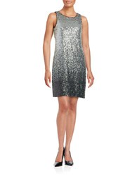 Vince Camuto Sleeveless Sequined Sheath Dress Black Silver