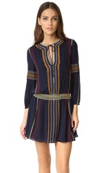 Alice Olivia Jolene Embroidered Drop Waist Dress Navy Multi