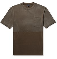 Lanvin Two Tone Distressed Cotton Jersey T Shirt Mushroom