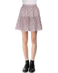 Saint Laurent Floral Print Tiered Mini Skirt Red Blue Red Blue Floral