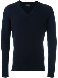 Drumohr V Neck Jumper Blue
