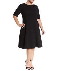 Lafayette 148 New York Correy Half Sleeve Crepe Dress Black