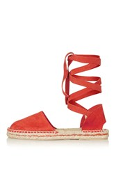 Topshop Kanga Ankle Tie Espadrille Red