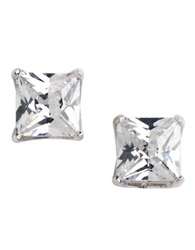 Lord And Taylor Platinum Plated Princess Cut Stud Earrings Cubic Zirc