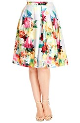 Plus Size Women's City Chic Geo Floral Print Skirt