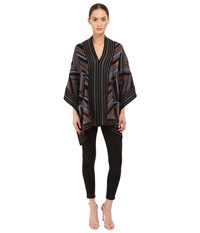 Just Cavalli Lurex Knit Chevron Poncho Black Brown Women's Coat