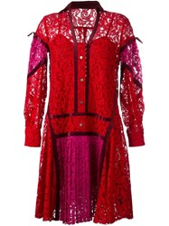 Sacai Floral Lace Shirt Dress Red