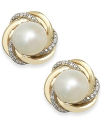 Macy's Cultured Freshwater Pearl 7Mm And Diamond Accent Knot Stud Earrings In 14K Gold