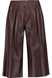 Iris And Ink Leather Culottes Dark Brown