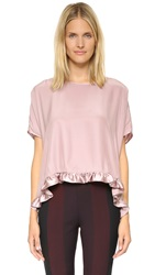 Clover Canyon Shortsleeve Charmeuse Top Dusty Rose