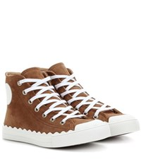 Chloe High Top Suede Sneakers Brown