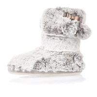 River Island Womens Grey Bow Faux Fur Slipper Boots