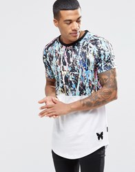 Good For Nothing T Shirt With Paint Splatter And Curved Hem White