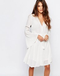 Pull And Bear Long Sleeve Dress With Open Back Ecru