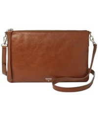 Fossil Sydney Leather Top Zip Crossbody Brown