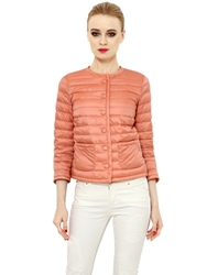 Add Quilted Nylon Down Jacket Peach